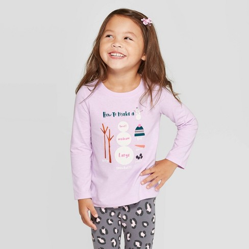 Toddler Girls' Long Sleeve 'Snowman' T-Shirt - Cat & Jack™ Purple - image 1 of 3