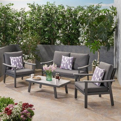 4pc Sinclair Aluminum and Faux Wood Patio Chat Set Gray - Christopher Knight Home