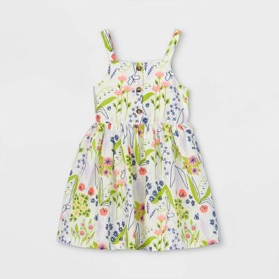 Toddler Girls' Floral Button-Front Tank Dress - Cat & Jack™ Cream