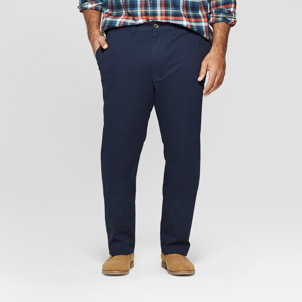 Men's Big & Tall Regular Fit Hennepin Chino Pants - Goodfellow & Co Navy 46x30, Blue