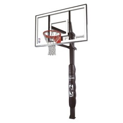 """Spalding NBA 60"""" Glass In Ground Basketball Hoop with Pole Pad"""