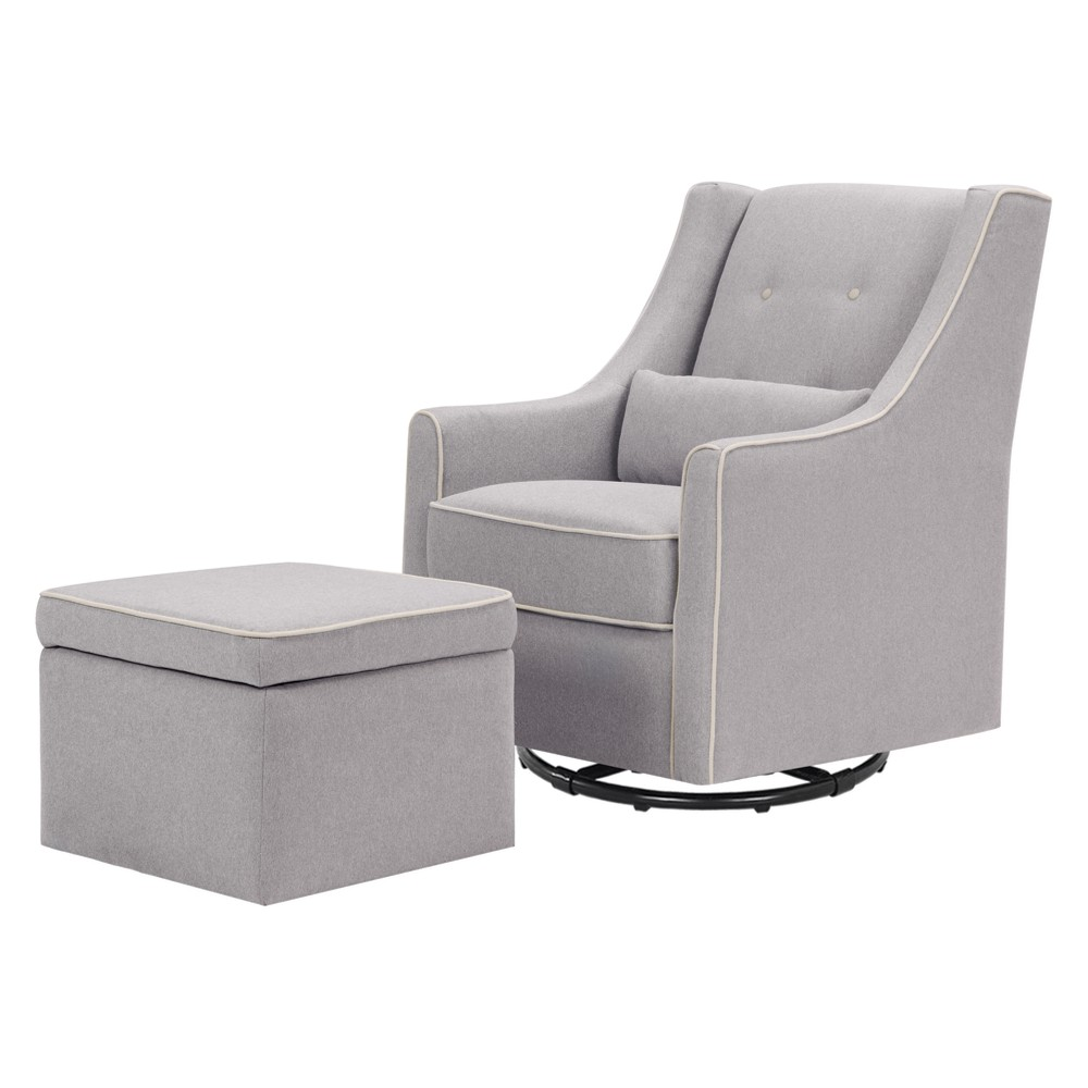 Image of DaVinci Owen Glider and Storage Ottoman - Gray with Cream Piping, Gray/Ivory