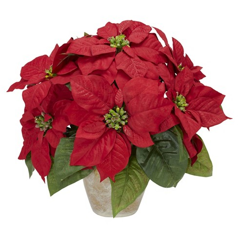Poinsettia with Ceramic Vase Silk Flower Arrangement - Nearly Natural - image 1 of 1