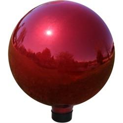 "10""H Glass Gazing Ball - Mirrored Red - Sunnydaze Decor"
