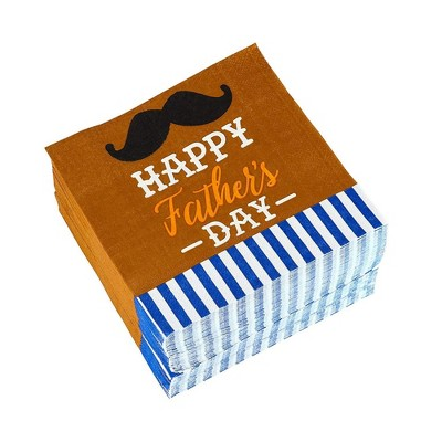 Blue Panda 150-Pack Brown Mustache Happy Father's Day Disposable Paper Cocktail Napkins Party Supplies