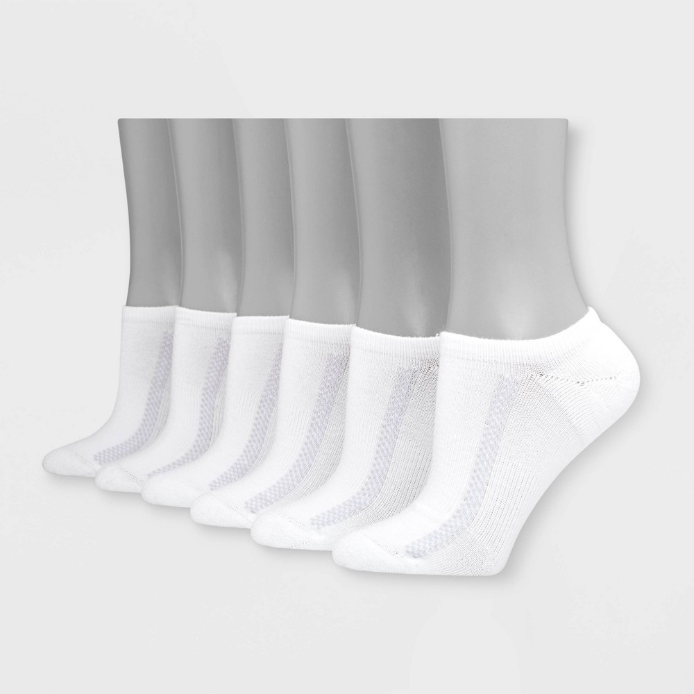 Hanes Premium Women's 6pk Heel Toe Cushion with Arch Support Super No Show Socks - White 5-9