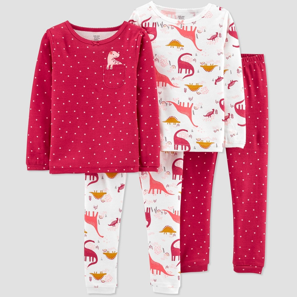 Toddler Girls 39 4pc Dino Pajama Set Just One You 174 Made By Carter 39 S Pink 18m