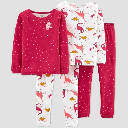 Toddler Girls' 4pc Dino Pajama Set - Just One You® made by carter's Pink - image 1 of 3