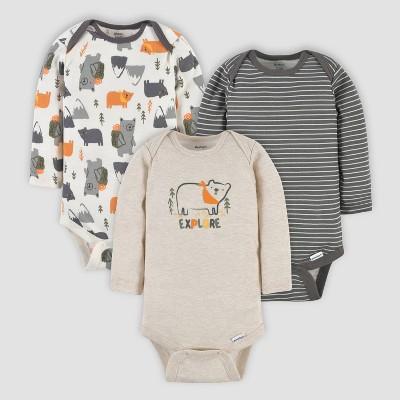 Gerber Baby Boys' 3pk Bears Long Sleeve Onesies - Off-White/Gray/Cream Newborn