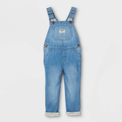 OshKosh B'gosh Toddler Girls' Floral Denim Overalls - Blue