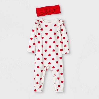 Baby Girls' Heart Print Ribbed Romper Top & Bottom Set - Cat & Jack™ Cream Newborn