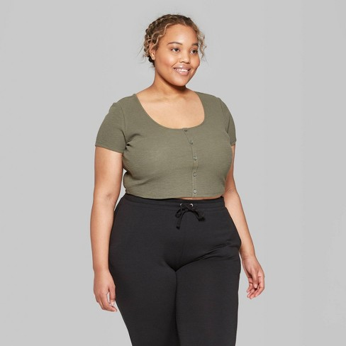 df38fb64df4 Women s Plus Size Short Sleeve Scoop Neck Button-Front Waffle T-Shirt - Wild  Fable™ Olive