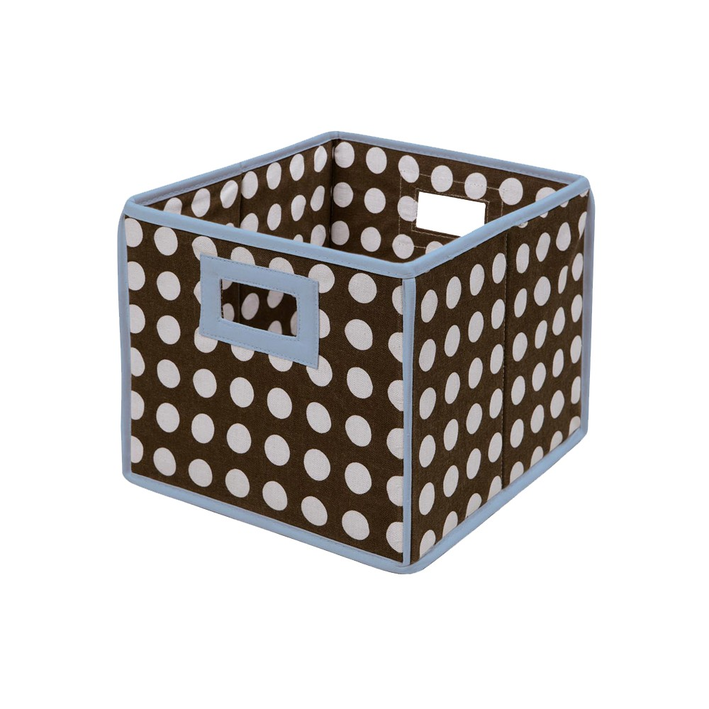 Image of Badger Basket Company Polka Dot Fabric Cube - Brown