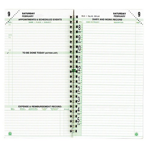 Day-Timer® Original Two-Page-Per-Day Wirebound Refill 2 3/4 x 5 White/Green 2018 - image 1 of 1