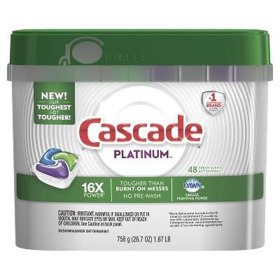 Cascade Platinum ActionPacs Dishwasher Detergent - Fresh Scent - 48ct