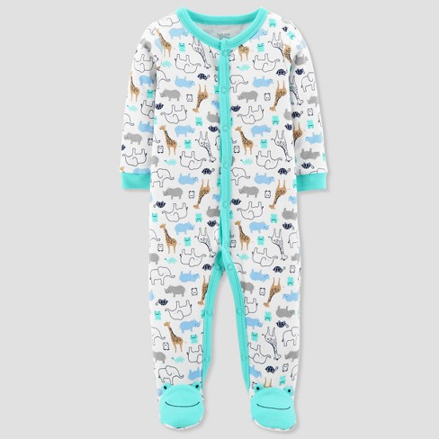 Baby Boys' Safari Animals Cotton Sleep N' Play - Just One You™ Made by Carter's® Green - image 1 of 1