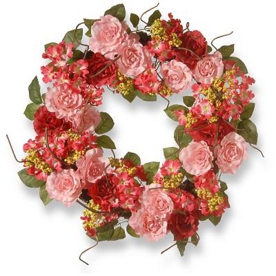 "Mix Rose Wreath - Pink (24"")"