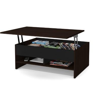 37  Small Space Lift Top Storage Coffee Table Dark Brown/Black - Bestar