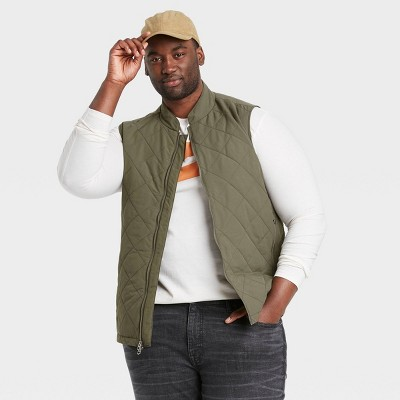 Men's Big & Tall Lightweight Quilted Puffer Vest - Goodfellow & Co™ Olive Green
