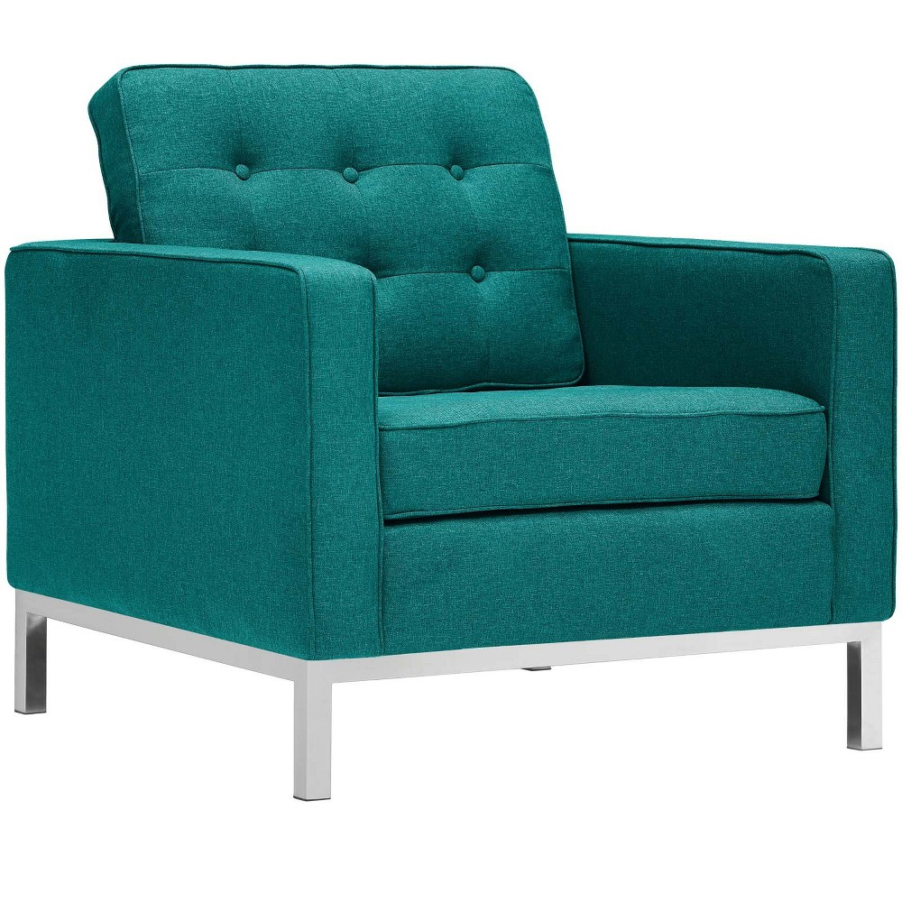 Loft Upholstered Fabric Armchair Teal (Blue) - Modway