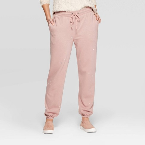 Women's Mid-Rise Embroidered Regular Fit Full Jogger Pants - Universal Thread™ Pink - image 1 of 3