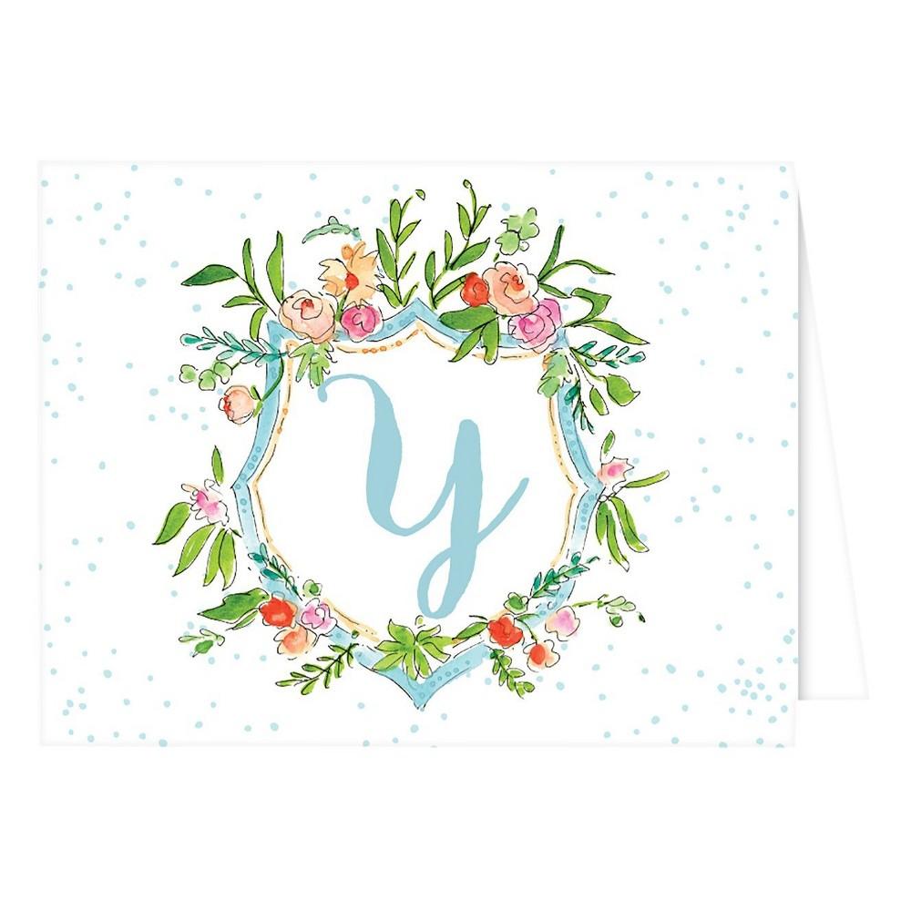 Folded Notes - Vintage Floral Crest Monogram - Y, Multicolored
