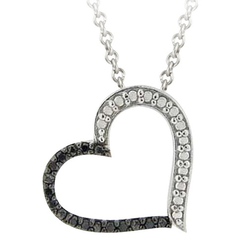 Sterling Silver Diamond/Accent Open Heart Necklace - Black (18) - image 1 of 1