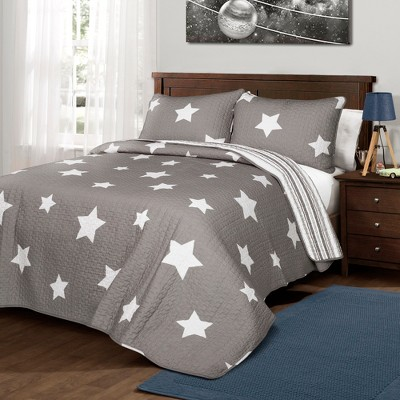 3pc Full/Queen Star Quilt Sets Gray - Lush Décor