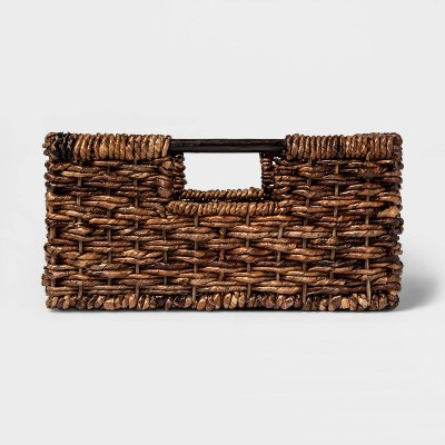 "6""x12"" Wicker Folio Bin Dark Global Brown - Threshold™"