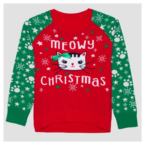 girls meowy ugly christmas long sleeve sweater red - Girls Christmas Sweater