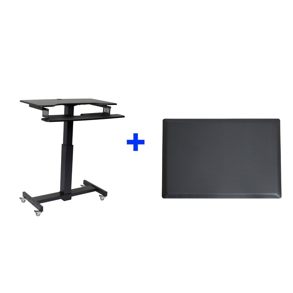 "Image of ""40"""" Mobile Standing Desk Riser with Medium Energizing Mat Black - Rocelco"""
