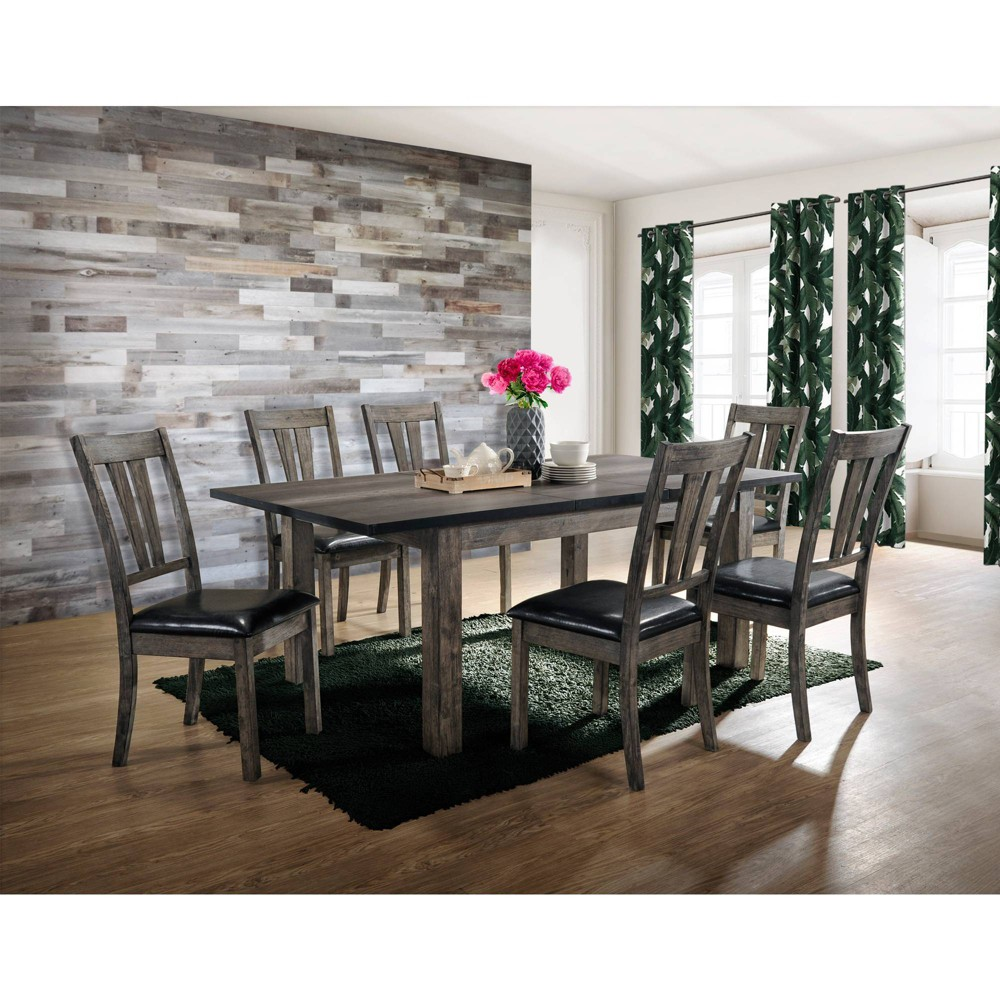 7pc Grayson Dining with Padded Seats Gray Oak - Picket House Furnishings