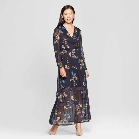 0e46c14b4e3 Women s Floral Print Mesh Maxi Dress - Spenser...   Target