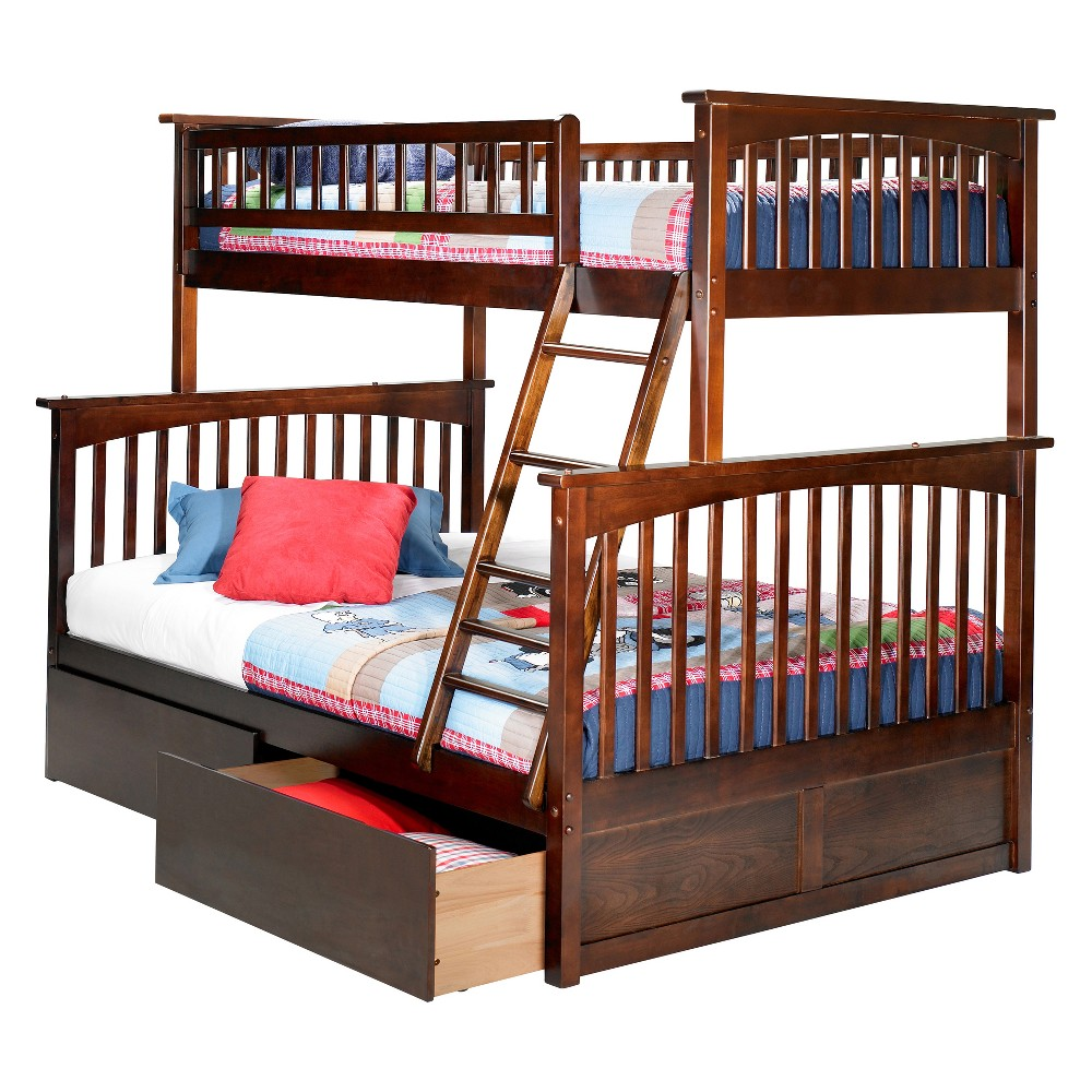 Image of Columbia Twin Over Full Bunk Bed with Under Bed Drawers Antique Walnut - Atlantic Furniture