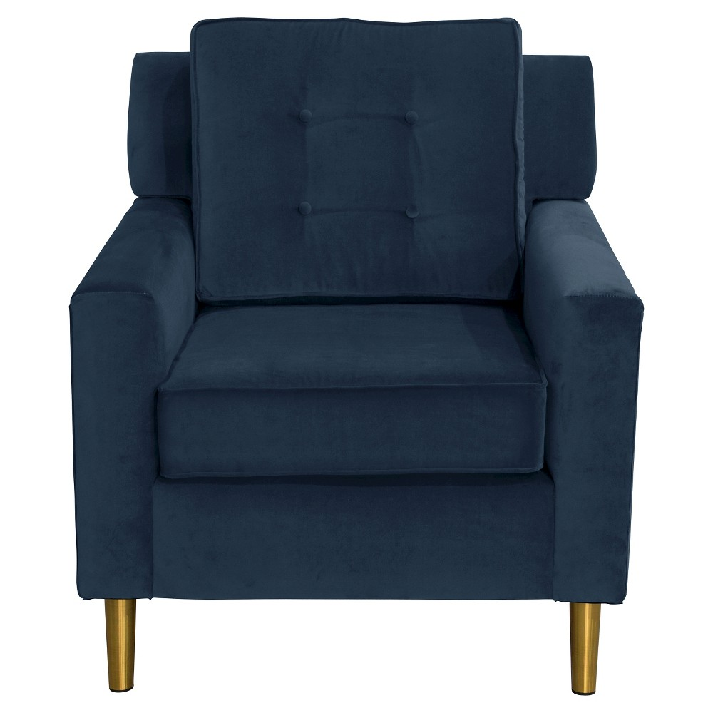 Parkview Chair with Metal Legs in Regal Navy - Skyline Furniture, Blue