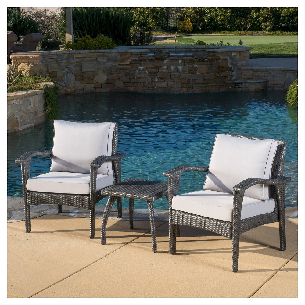Honolulu 3pc Wicker Patio Chat Set with Cushions - Gray - Christopher Knight Home