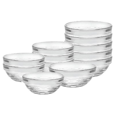 Duralex - Stackable Prep Bowl Set (6)4 0z & (6)6 oz - Clear