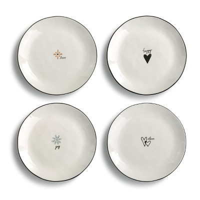 DEMDACO Heaping Teaspoon Appetizer Plates - 4 Assorted 8 x 8 - White