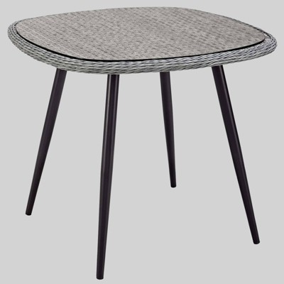 "Endeavor 36"" Wicker Rattan Square Patio Dining Table Gray - Modway"