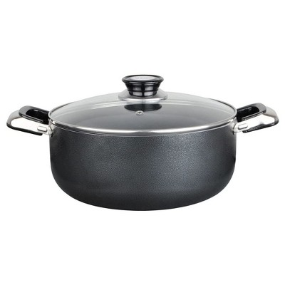 Alpine Cuisine 3 Quart Aluminum Non-Stick Dutch Oven Pot with Tempered Glass Lid and Carrying Handles for Sauces, Stews, and More, Black