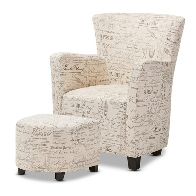 Benson French Script Patterned Fabric Club Chair and Ottoman Set - Beige - Baxton Studio