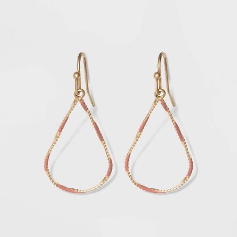 Enamel Teardrop Drop Earrings - Universal Thread™ - image 1 of 2