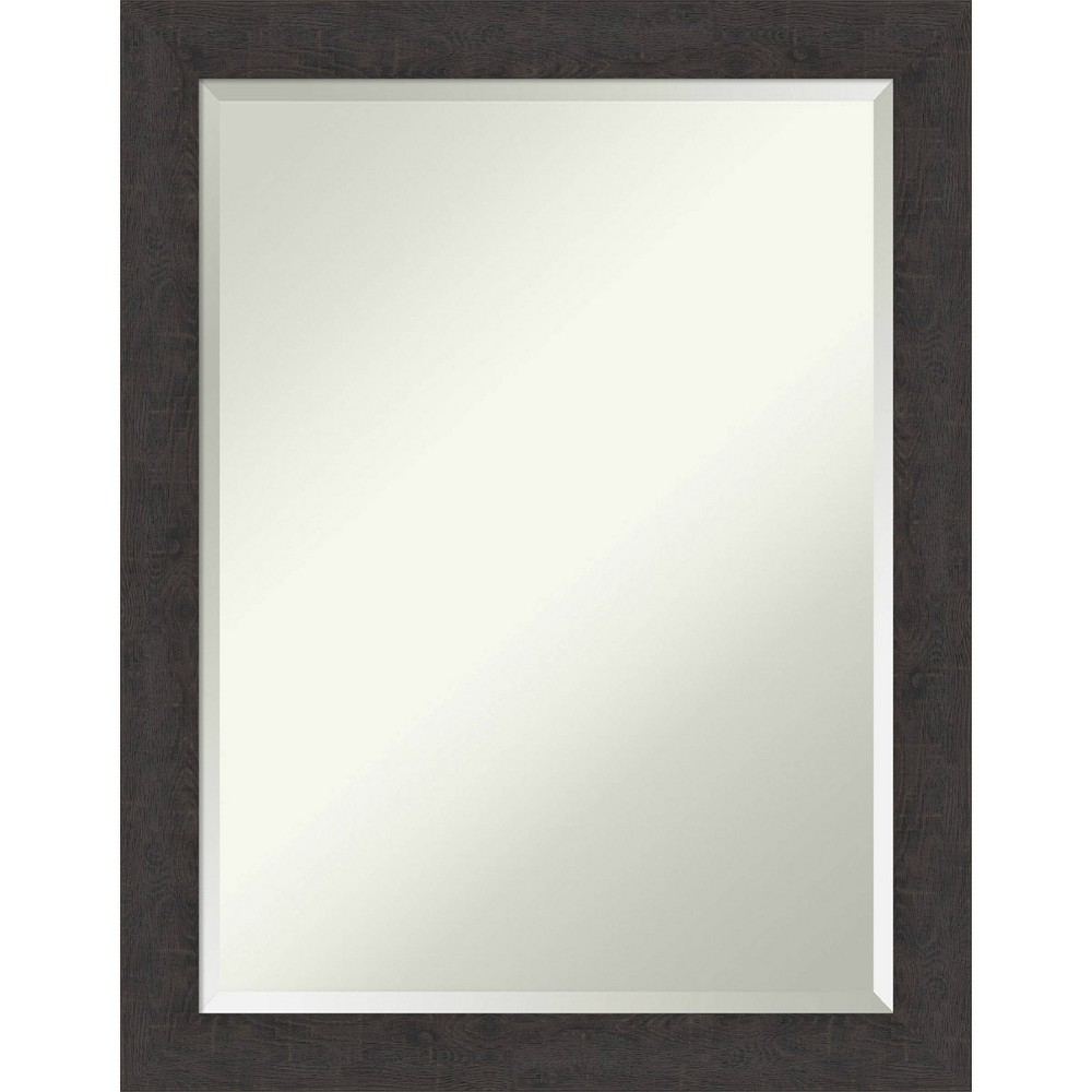 "Image of ""21"""" X 27"""" Rustic Plank Narrow Framed Bathroom Vanity Wall Mirror Espresso Brown - Amanti Art"""