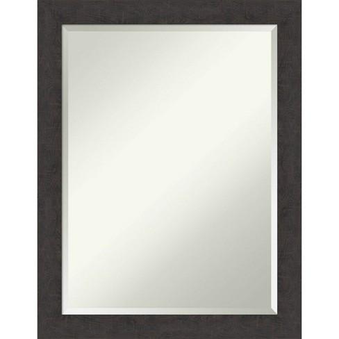 21 X 27 Rustic Plank Narrow Framed Bathroom Vanity Wall Mirror Espresso Brown Amanti Art