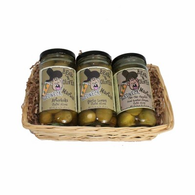 Northlight 3ct Gourmet Mild Redneck Beer and Martini Cocktail Olive Gift Pack