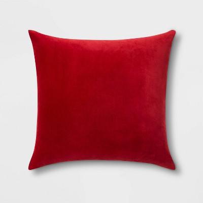 Velvet Oversize Square Pillow with Linen Reverse Red - Threshold™