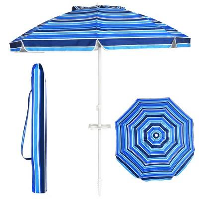 Costway 7.2 FT Portable Beach Umbrella Tilt Sand Anchor Cup Holder W/Carry Bag