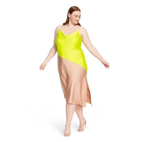 Women's Two-Tone Slip Dress - CUSHNIE for Target (Regular & Plus) Lime Green/Tan - image 1 of 4