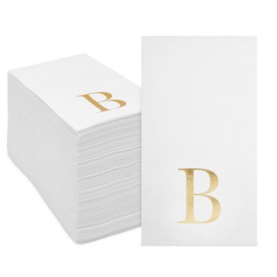 Sparkle and Bash 100 Pack Gold Foil Initial Letter B White Monogram Paper Napkins for Dinner Party, 4 x 8 In