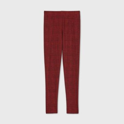 Girls' Ponte Plaid Skinny Pants - art class™ Red